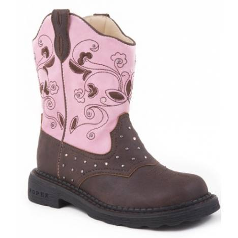 Roper Girls Faux Leather Lights Boots - Pink Dazzle