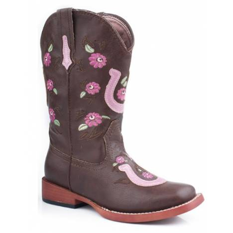 Roper Kids Embroidered Flower Horseshoe Overlay Boots - Brown/Pink