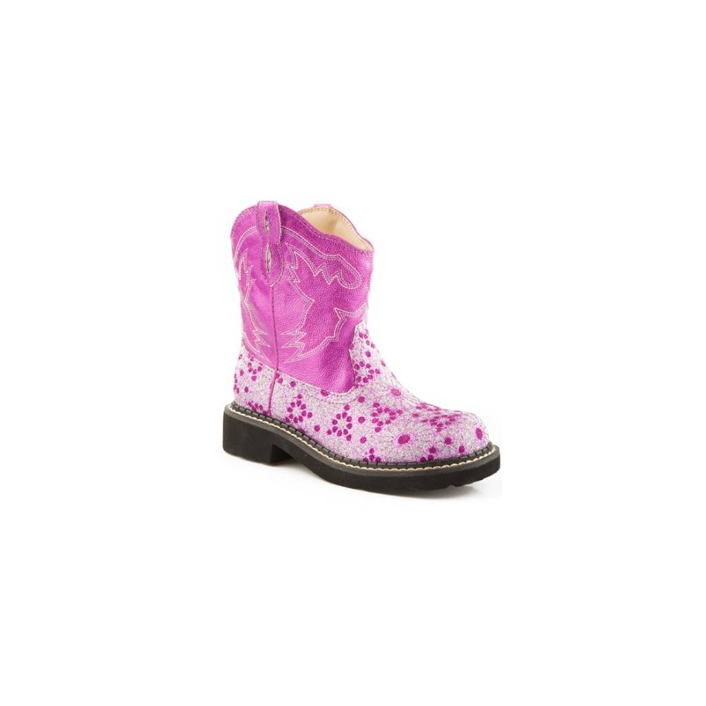 Roper Kids Chunk Faux Leather Bling Floral Boots - Pink
