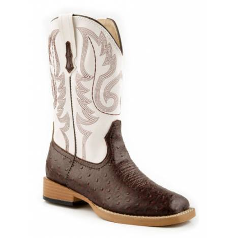 Roper Kids Ostrich Print Square Toe Boots - Brown