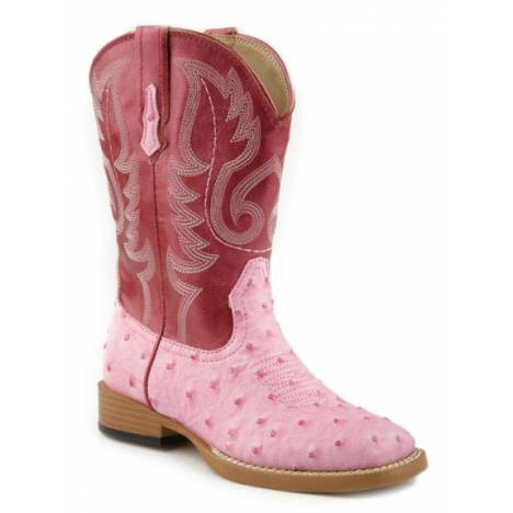 Roper Kids Ostrich Print Square Toe Boots - Pink