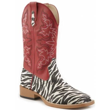 Roper Ladies Bling Wide Toe Faux Leather Western Boots - Red/Imitation Print