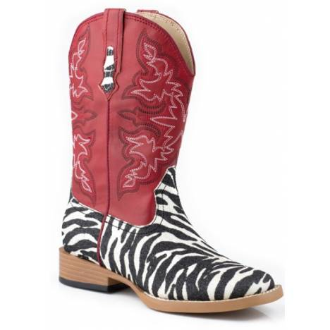 Roper Kids Bling Square Toe Faux Leather Boots - Red/Zebra