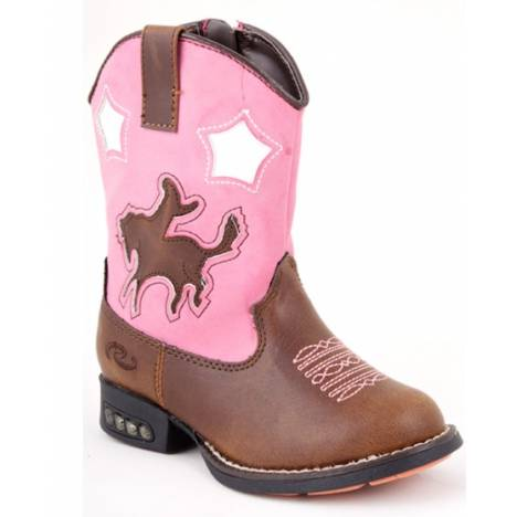 Roper Toddler Girls Bronc Boots with Heel Lights