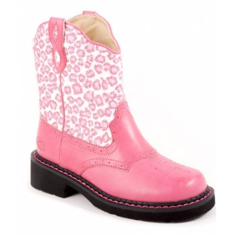 Roper Girls Faux Leather Glitter Print Boots - Pink
