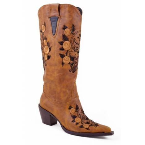 Roper Ladies Faux Leather Boots - Tan/Embroidered