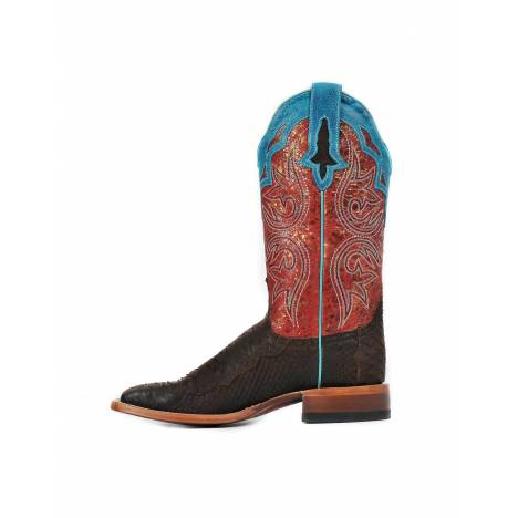 Cinch Womens Chocolate Suede Python CFW535 Western Boots