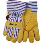 Kinco Lined Grain Pigskin Glove - Tan/Blue/Red - Large