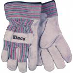 Kinco Cowhide Leather Palm Glove - Gray/Blue/Red - Medium