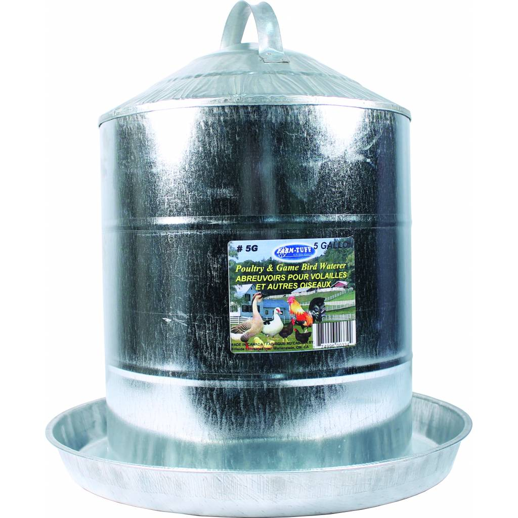 Double Wall Cone Top Galvanized Poultry Wall Fount