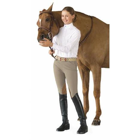 Ovation Girl's Euroseat Knee Patch Side Zip Breeches