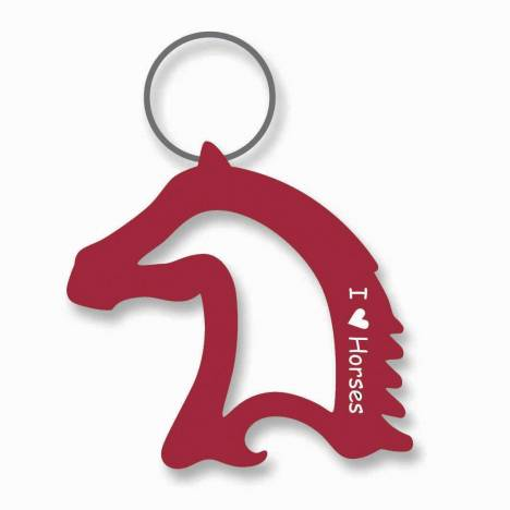 I Love Horses Horse Head Bottle Opener Keychain