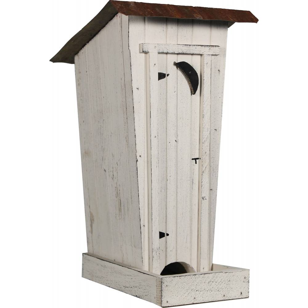 Terrific The Outhouse Bird Feeder White Horseloverz Download Free Architecture Designs Itiscsunscenecom
