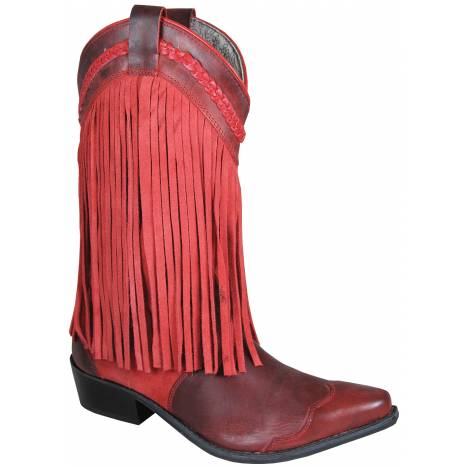 Smoky Mountain Womens Rosie Leather Suede Fringe Boots - Red