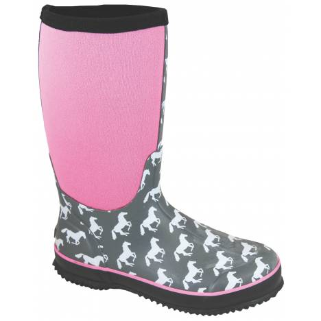 Smoky Mountain Ladies Horses Amphibian Boots - Gray/Pink