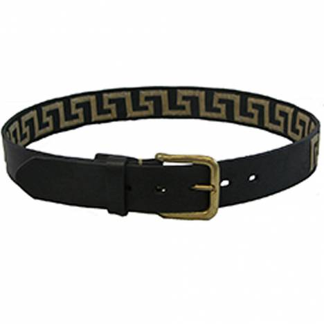 WOW Greek Key Black Leather Belt -Tan Key