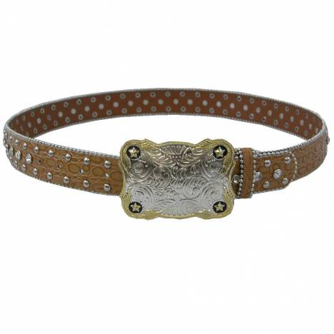 WOW Ladies Chestnut Leather Belt with Crystals