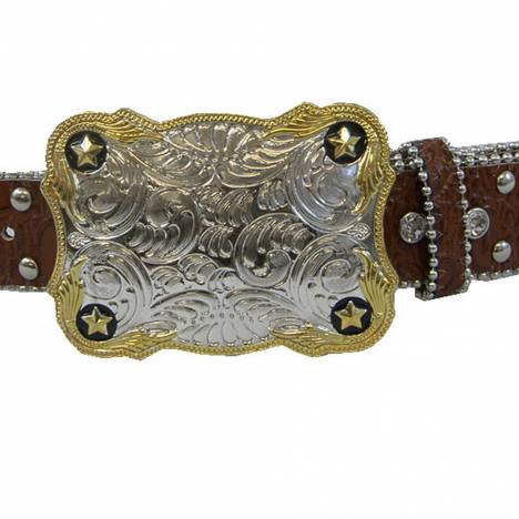 WOW Ladies Brown Leather Belt with Crystals
