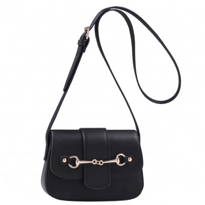 Cross Body Purse with Snaffle Bit - Brown