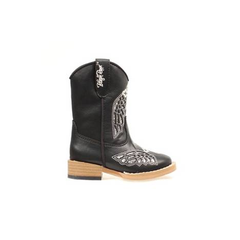 Blazin Roxx Kids Gracie Wing & Cross Zip Western Boot - Black