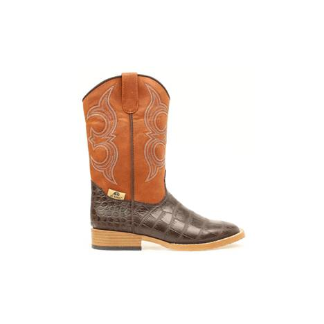 DBL Barrel Youth Bronc Gator Western Boot - Rust/Brown