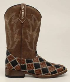 DBL Barrel Youth Andy Patchwork Western Boot