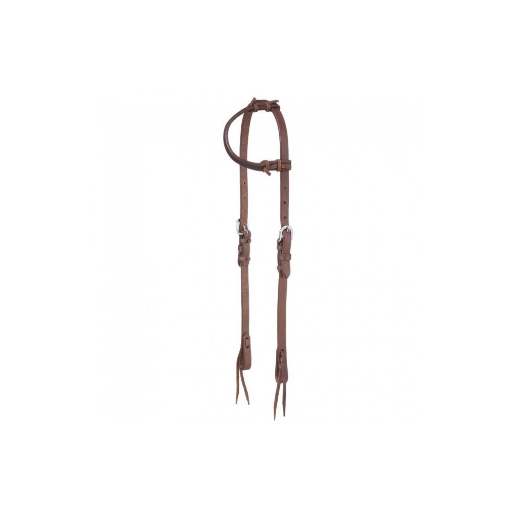Tough-1 Harness Leather Single Ear Headstall With Tie Ends
