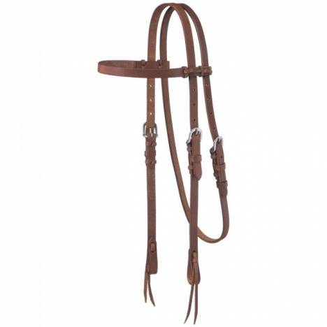 Tough-1 Harness Leather Browband Headstall With Tie Ends