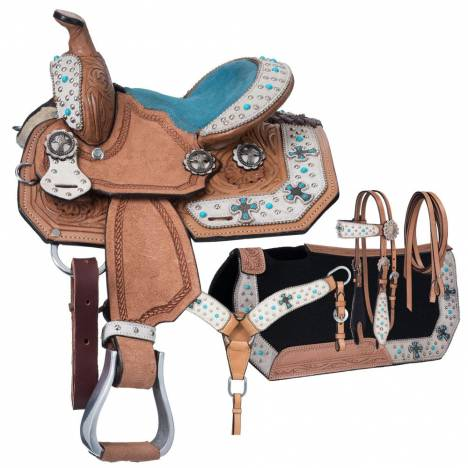 Silver Royal Desert Hope Barrel Saddle 4 Piece Package