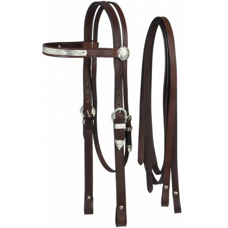 Tough-1 Draft/Large Horse Silver Show Headstall and Reins