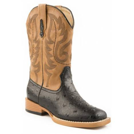 Roper Mens Bumps Faux Ostrich Wide Square Toe Western Boot