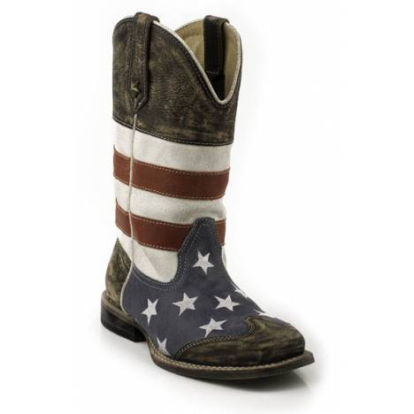 Roper Kids American Flag Square Toe Western Boot