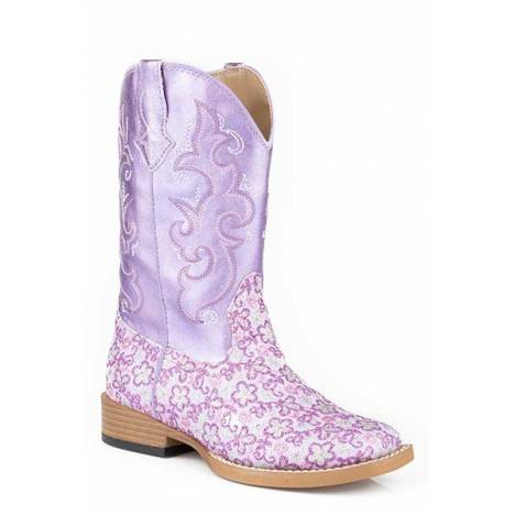 Roper Girls Kids Lavender Wide Square Toe Western Boot