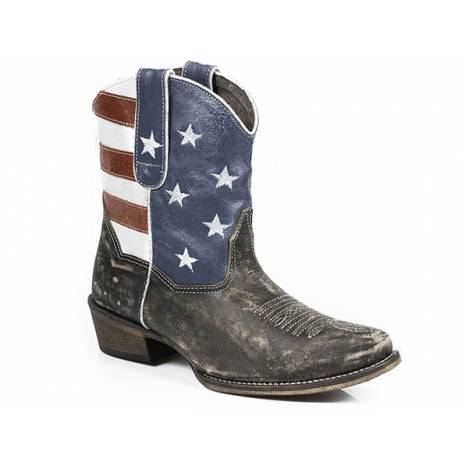 Roper Ladies American Beauty Flag Snip Toe Ankle Boot