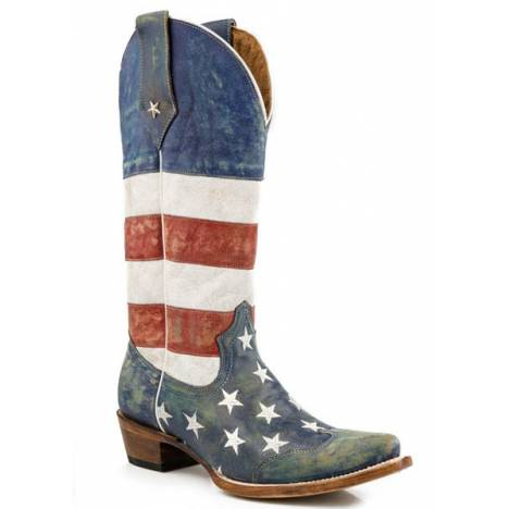 Roper Ladies Americana Flag Snip Toe Western Boot
