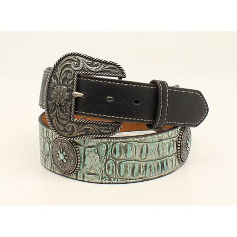 Nocona Ladies Round Concho Tapered Croc Belt And Buckle