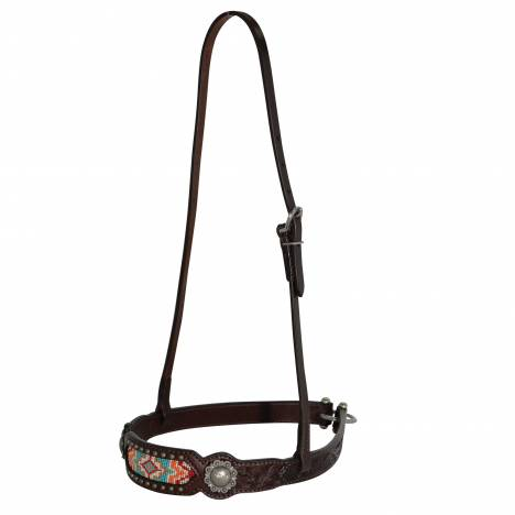 Circle Y Bead Inlay Floral Concho Noseband