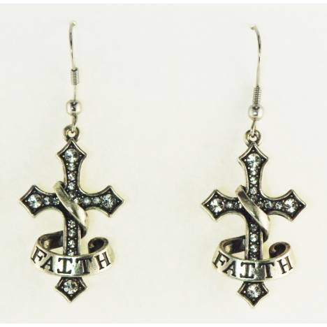 Western Edge Cross Faith Dangle Earrings