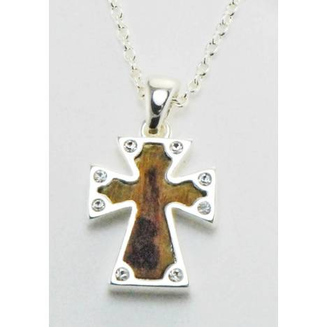 Western Edge Crystal Small Cross Leather Hair On Hair Necklace