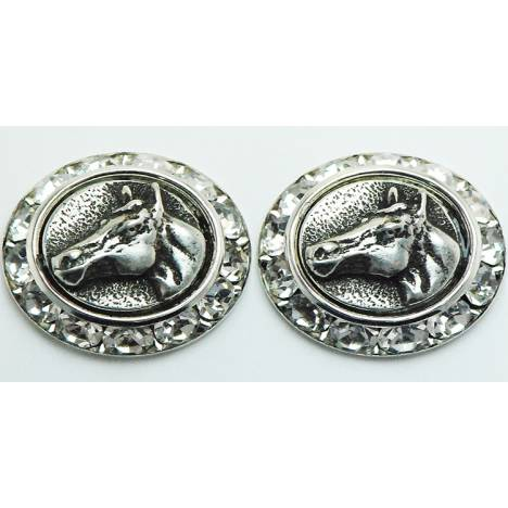 Western Edge Quarter Horse Head In Coin Earrings