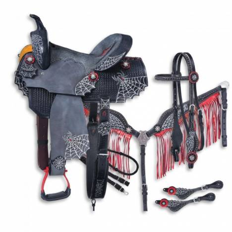 Silver Royal Black Widow Collection 5 Piece Saddle Package