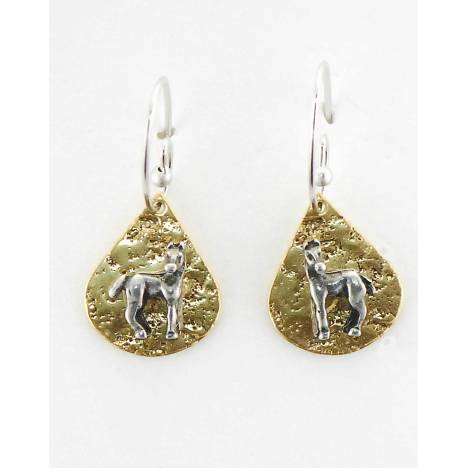 Finishing Touch Horse Turned On Textured Teardrop French Wire Earrings