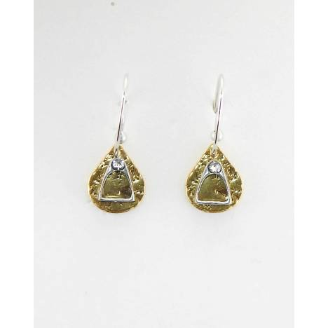 Finishing Touch Stirrup With Stone On Textured Teardrop French Wire Earrings
