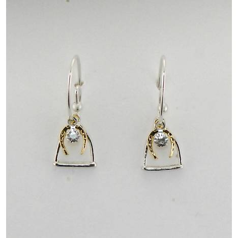 Finishing Touch Stirrup And Horse Shoe With Stone French Wire Earrings