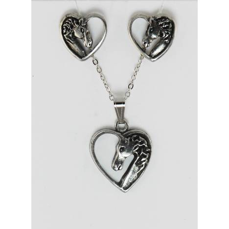 Finishing Touch Horse Head In Heart Earrings/Necklace Gift Set