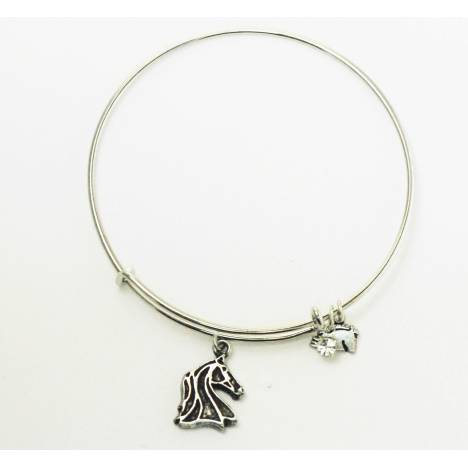 Finishing Touch Outline Horse Head Plain Wire Adjustable Bangle