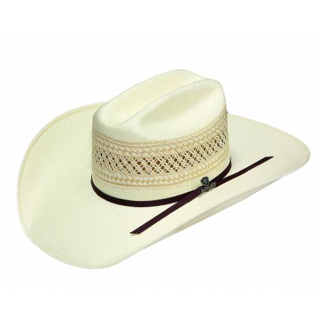Ariat Mens 20X Woven Straw Western Hat with Double Leather Band
