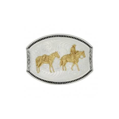 Montana Silversmiths Cut Oval Star Light Pack Horse And Rider Buckle