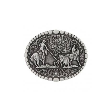 Montana Silversmiths Classic Oval Beaded Trim Attitude Team Roping Buckle