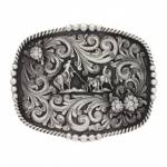 Montana Silversmiths Impressions Triple Flower Team Rope Figure Attitude Buckle